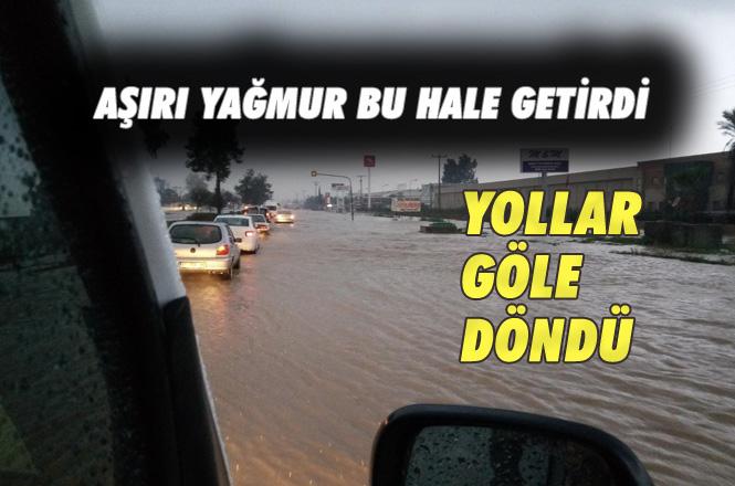 Aşırı Sağanak Yağış Nedeniyle Araçlar Yolda Kaldı