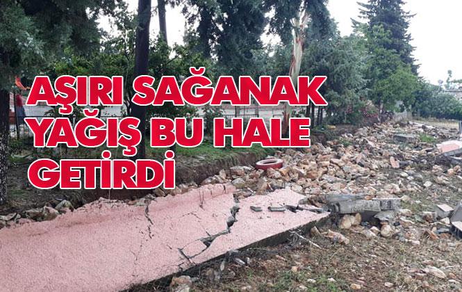 Sağanak Yağış Nedeniyle Mersin'de Bir Okulun İhata Duvarı Yıkıldı