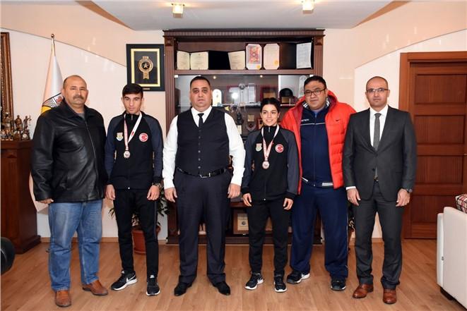 Avrupa Şampiyonu ve Üçüncüsünden Başkan Can'a Ziyaret
