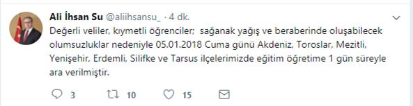 Mersin'de Yarın Okullar Tatil mi? Resmi Açıklama Geldi...