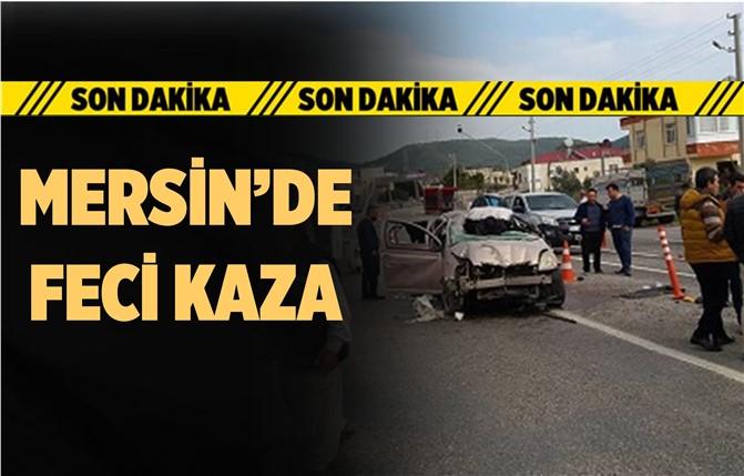 Mersin'de Otomobil Trafik Tabelasına Çarptı