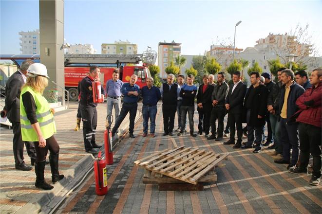 Erdemli Belediyesinden Yangın Tatbikatı
