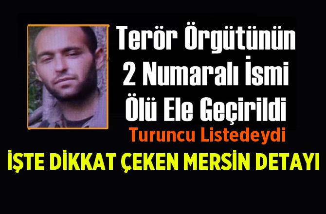 Terör Örgütünün 2 Numaralı İsmi Ölü Ele Geçirildi