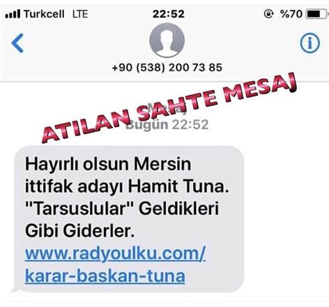 Mersin'de Gece Sahte SMS Atıldı