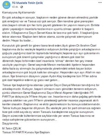 İYİ Parti Tarsus İlçe Kurucu Başkanı M. Tekin Çelik'in ''Kamuoyu Açıklaması''