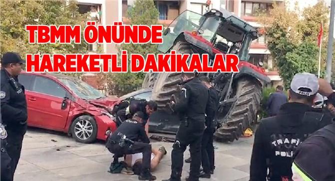 TBMM önüne kadar gelen traktör durmadı: Polis, çiftçiyi bacağından vurdu