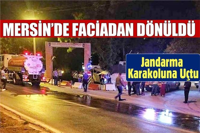 Mersin'de Feci Kaza. Otomobil Jandarma Karakoluna Uçtu