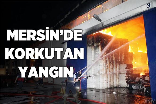 Mersin'de Karaduvar'da Pamuk Deposunda Çıkan Yangın Korkuttu