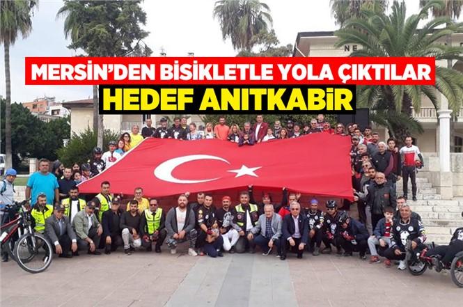 Mersin'de 100 Bisikletçi 10 Kasım İçin Anıtkabir'e Doğru Bisikletlerle Yola Çıktılar