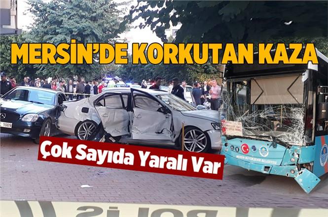 Mersin Mezitli'de Korkutan Kaza; Yolcu Otobüsüyle Otomobil Çarpıştı