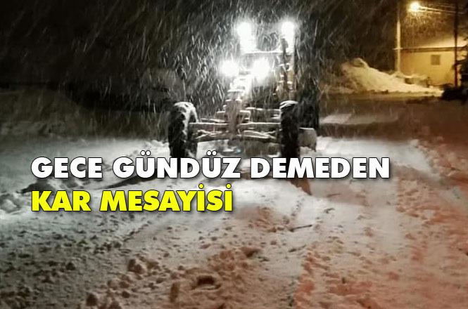 Mersin Çamlıyayla'da Kar Esarete Dönüşmesin Diye Ekipler Gece Gündüz Çalışıyor