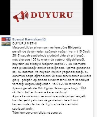 Mersin Bozyazı İlçesinde MEB'e Bağlı Okullar 15 Ocak'ta 1 Günlüğüne Tatil Edildi