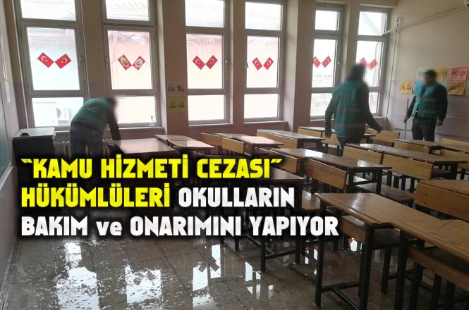 """Hükümlüler """"Kamu Hizmeti Cezası""""nı, Semester Tatilinde Okulların Bakım ve Onarımını Yaparak Geçiriyor"""
