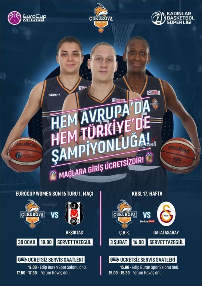 Çukurova Basketbol - Galatasaray Karşılaşması Pazar Günü Mersin'de