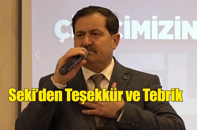 Tarsus Ziraat Odası Başkan Adayı Abdullah Seki'den Teşekkür ve Tebrik