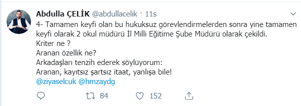 Mersin Milli Eğitimle İlgili Şok İddialar, Gece Saatlerinde Sendika İl Başkanı Abdullah Çelik Tweetle Paylaştı