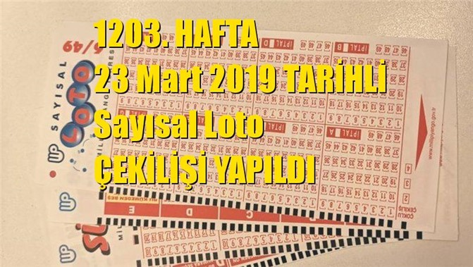 Sayısal Loto Sonuçları 23 Mart 2019 Tarihli Çıkan Sayılar: 01 - 09 - 15 - 18 - 41 - 47