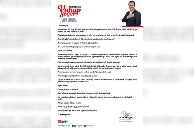 CHP Mersin BüyükşehirAdayı Vahap Seçer'den İlk Kez Oy Kullanacak Gençlere Mektup
