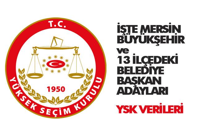 Mersin Büyükşehir ve İlçelerindeki Adayların Listesi (YSK Verileri)