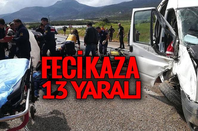 Mersin Silifke'de İşçileri Taşıyan Minibüs Kaza Yaptı; 13 Yaralı
