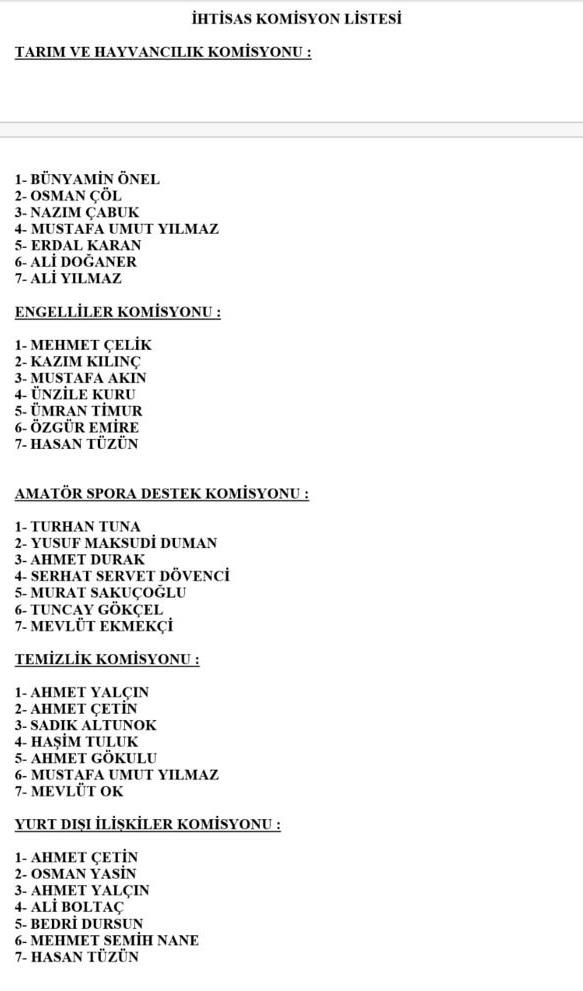 Mersin Büyükşehir Belediye Meclisi Komisyon Üyeleri