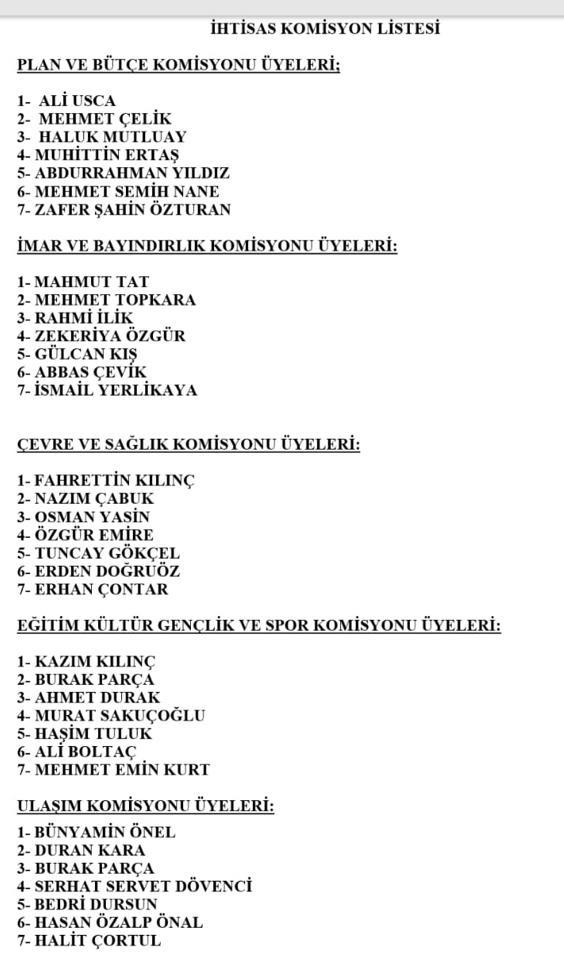 Mersin BüyükşehirKomisyon Üyeleri
