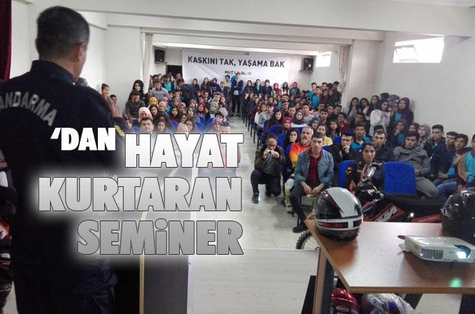 """Mersin Mut Jandarma'dan """"Kaskını Tak, Yaşamak Bak, Mut'lu Ol"""" Seminerleri"""