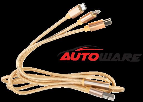 USB Şarj Kablosu 3 In 1
