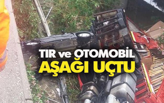 Otobanda TIR Kazası! Mersin Tarsus'ta Kaygan Yolda Kontrolden Çıkan TIR, Köprüden Aşağı Uçtu