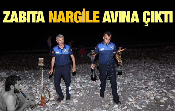 Mersin Erdemli Zabıta Ekipleri  Sahilde Nargile Topladı