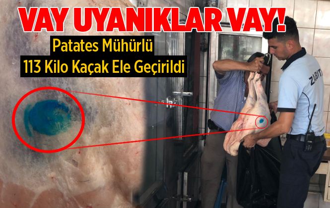Mersin'de Zabıta Ekipleri, Patates Mühürlü 113 Kilo Kaçak Et Ele Geçirdi