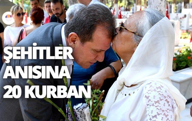 Mersin'de Şehitler Anısına, İhtiyaç Sahiplerine ve Kimsesizlere Dağıtılmak Üzere Arife Günü 20 Kurban Kesildi