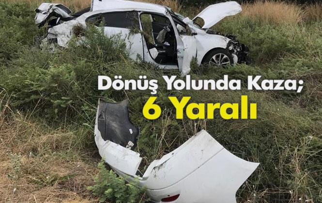 Tarsus Adana Otoban Yolunda Meydana Gelen Kazada Takla Atan Araçtan 6 Kişi Yaralı Olarak Kurtuldu