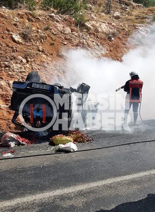Mersin'de Silifke Gülnar Yolunda Kaza Yapan Araç Alev Aldı