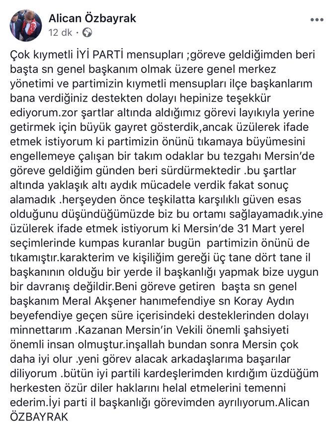 İyi Parti Mersin İl Başkanı Alican Özbayrak, Başkanlık Görevinden İstifa Etti