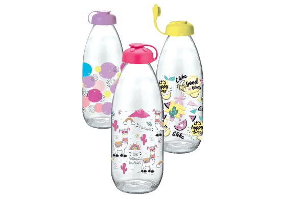 Desenli Cam Süt Şişesi