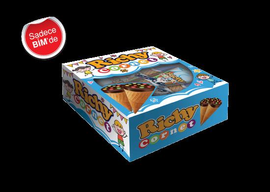 Fındıklı Krema Dolgulu Sütlü Çikolatalı Drajeli Gofret Richy Cornet 4x25 g