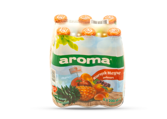 Karışık Meyve Nektarı Aroma 6x200 ml • 9 vitaminli • Cam şişe