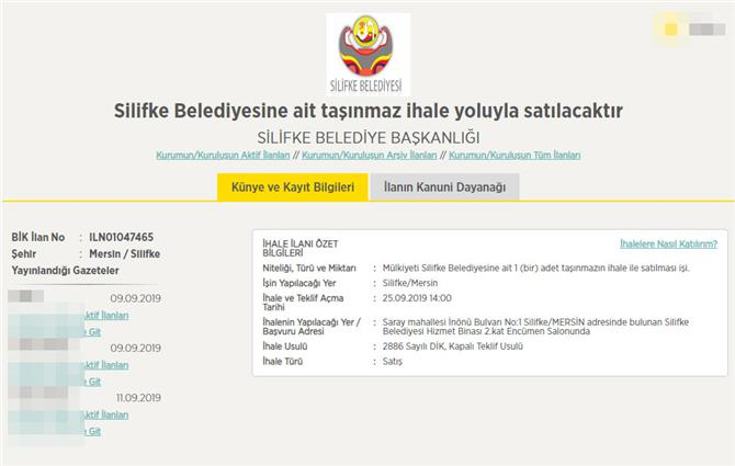 Silifke Belediyesinden 19 Milyon 850 Bin Lira'ya Satılık Taşınmaz!