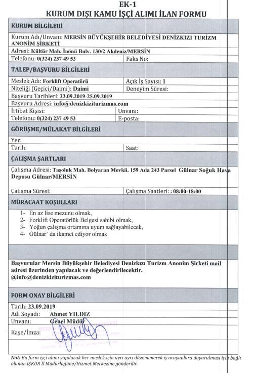 4 Kişi Alınacak! Mersin Büyükşehir Belediyesi Denizkızı A.Ş, 4 Personel Alımı İlanı İçin İlan Yayınlandı