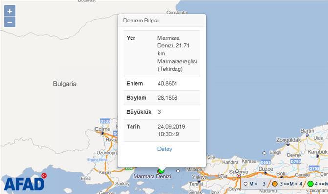 Merkez Üssü Silivri Açıkları- İstanbul (Marmara Denizi) Olan 4.7 Büyüklüğünde Deprem Meydana Geldi