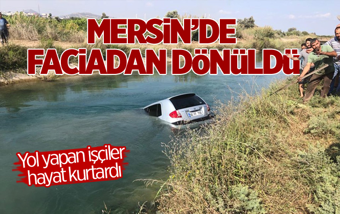 Mersin Akdeniz'de Bir Otomobil Su Kanalına Uçtu