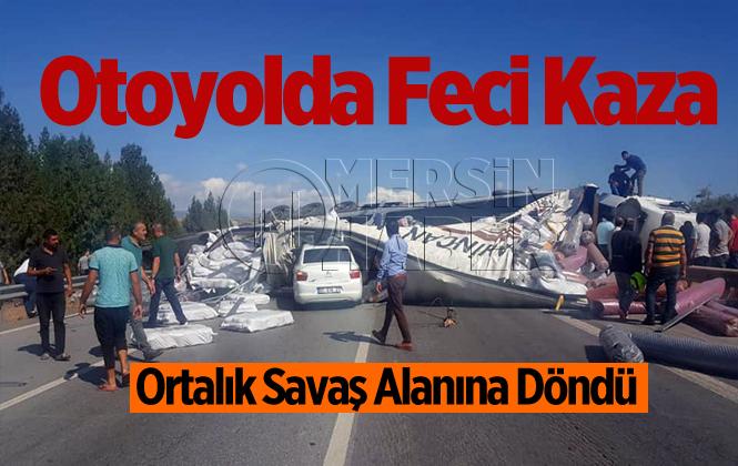 Mersin Tarsus'ta Otoyolda Feci kaza 4 Yaralı