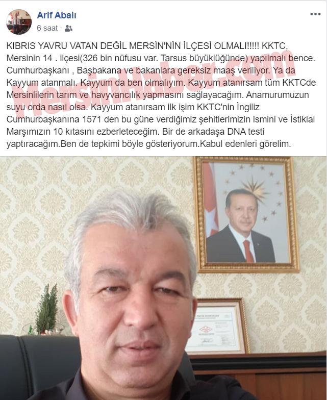 Mersin İl Tarım Müdürü Arif Abalı ''Kıbrıs'a Kayyum Atayın''