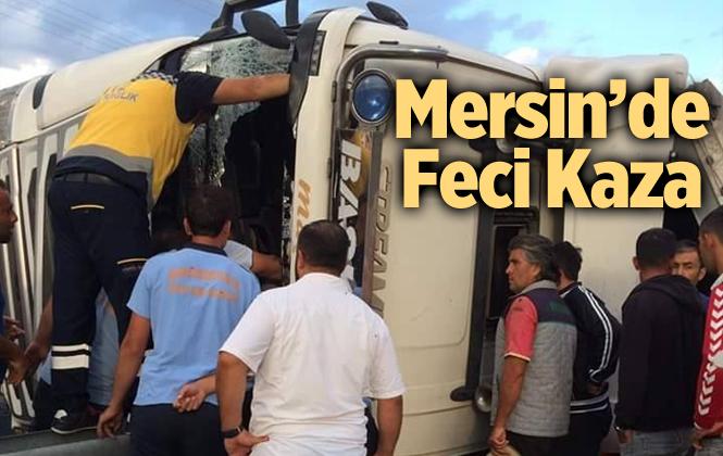 Mersin'da Nar Yüklü Tır Devrildi