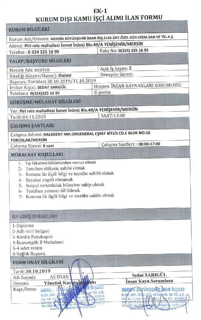 Mersin Büyükşehir Belediyesi İMAR A.Ş Personel Alıyor