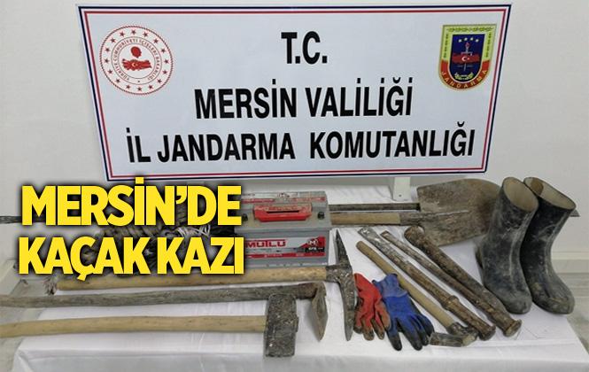 Mersin'de Kaçak Kazı Yapan 4 Kişi Suçüstü Yakalandı