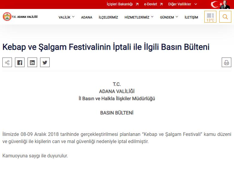 Adana ''Kebap ve Şalgam Festivali'' Kamu Düzeni Ve Güvenliği İle Kişilerin Can Ve Mal Güvenliği Nedeniyle İptal Edildi