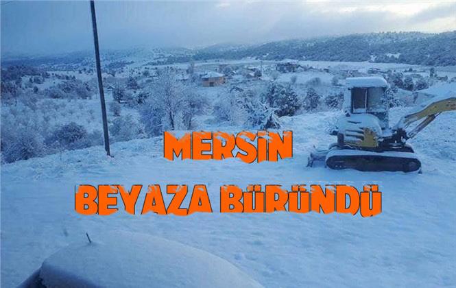 Mersin'in Yüksek Mahallelerine Kar Yağdı