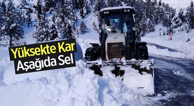 Mersin'de Yüksekte Kar, Aşağıda Sel İle Mücadele